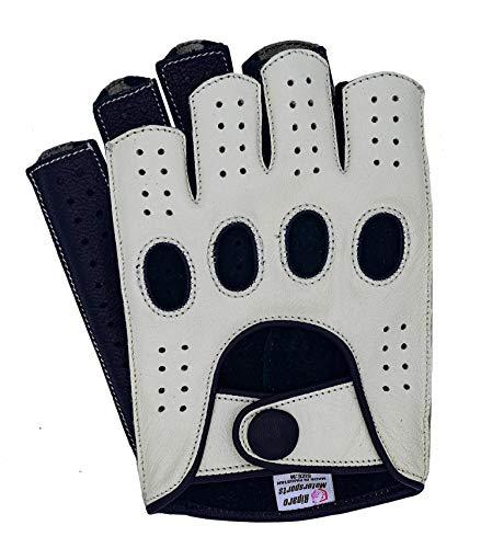 Riparo Women Genuine Leather Reverse Stitched Half-Finger Fingerless Driving Motorcycle Gloves (7.5, White/Black)