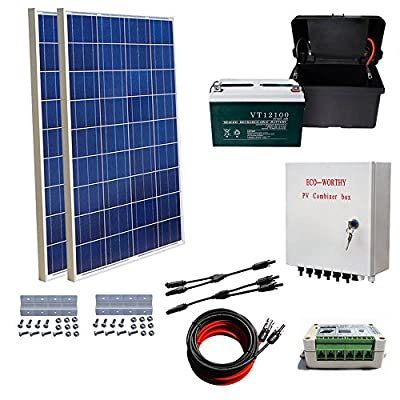 ECO-WORTHY 200 Watts Solar Panel Kit: 2pcs 100W Poly Solar Panel + 100AH AGM battery+ Solar Cable Adapter + 15A Charge Controller + Combiner Box + Z Mounting Brackets for RV Boat