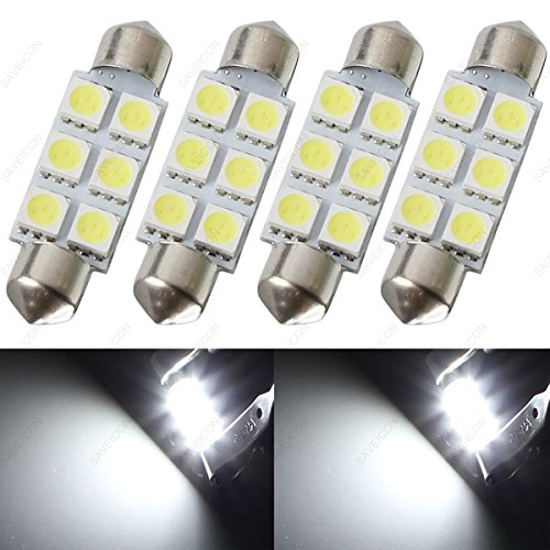 SAWE - 44MM 6-SMD 5050 Festoon Dome Map Interior LED Light Bulbs Lamp For 6411 578 211-2 212-2 (4 pieces) (White)