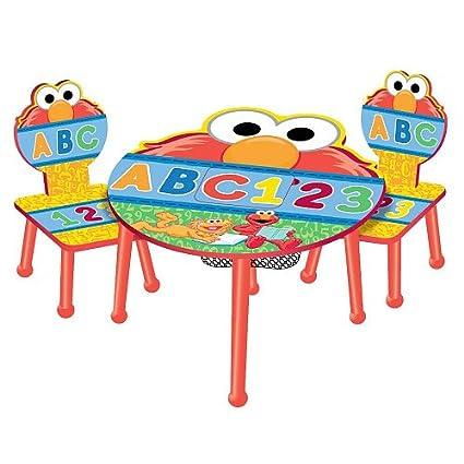 Amazon com: Sesame Street Elmo 123 Theme Storage Table & Chairs Set