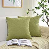 Decorative Pillow Cover - Kevin Textile Solid Velvet Decoration Toss Throw Pillow Case Cushion Cover Comfortable Soft Striped Decorative Pillowcase for Bed/Chair/Couch, 20