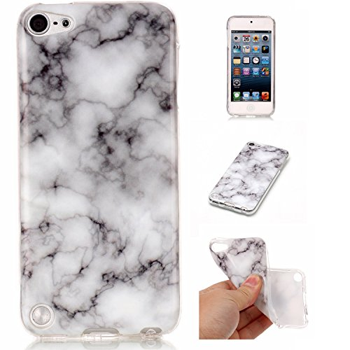 (iPod Touch 6 Case,iPod 6 Cases, Glossy Marble Pattern Slim Hard Soft Silicone Back Case Cover Fit for Apple iPod Touch 5 6th (White&Black) )