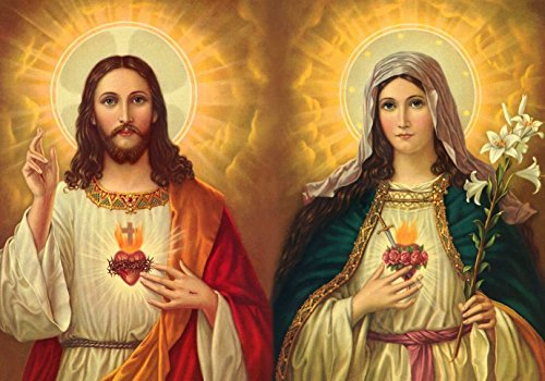 Jesus and Mary POSTER A4-A3 print Sacred Heart of Virgin Mary painting Artwork Religious Catholic Christian Holy Wall Art Decor for Room Home Chapel by SmartPolonia