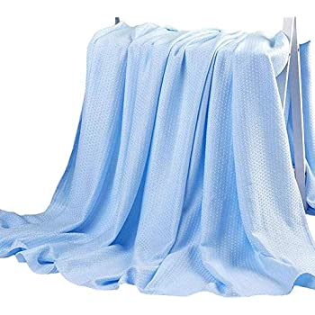 Hughapy Bamboo Fiber Blanket Air Conditioning Cool Blankets Lightweight Summer Thin Quilt Sofa Bed Travel Throw Blanket for Adults Teens (79 x 91 inches, Blue)
