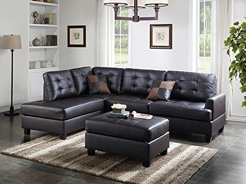 3Pcs Modern Espresso Faux Leather Reversible Sectional Sofa Chaise Ottoman Set with 2 Accent Pillows by Advanced Furniture