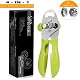 Can Opener Manual Stainless Steel Can Bottle Opener, Smooth Edge Easy to Open
