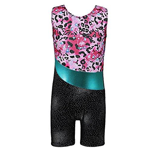 TFJH E One-Piece Sparkle Dancing Gymnastics Biketard For Little Girl Leopard 150