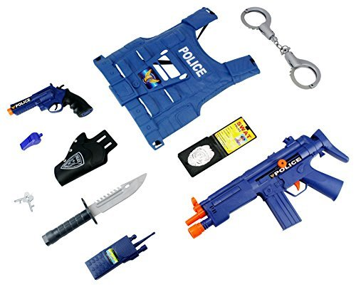 World Police Force 10 Piece Children Kid's Pretend Play Friction & Battery Powered Toy Gun Playset w/ Gun, Pistol, Vest, Accessories