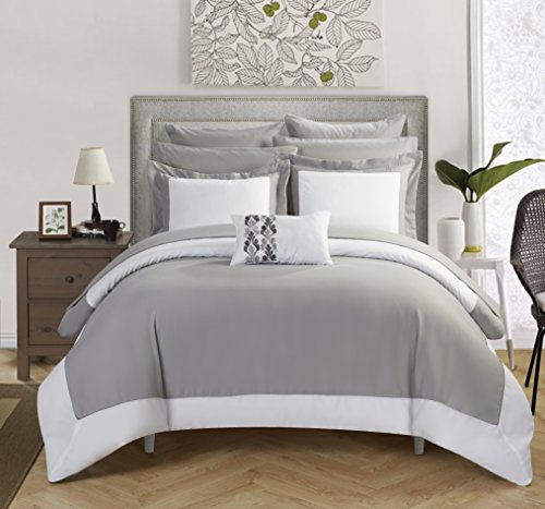 high-quality Chic Home CS0797-AN Peninsula 7 Piece Peninsula Comforter, Grey/Silver, Twin