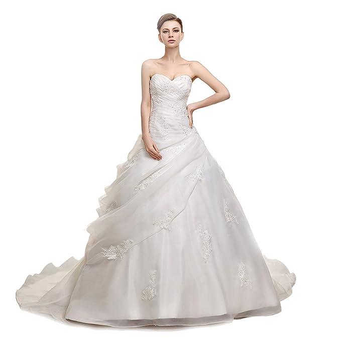 Engerla Sweetheart apliques de cuentas mujer capilla tren playa vestido de novia Marfil Marfil 34