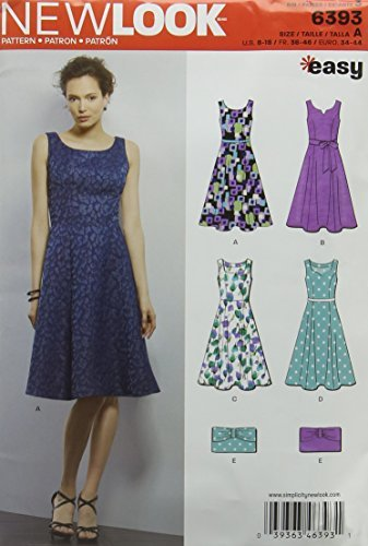New Look 6393 Size A Misses Easy Dress and Purse Sewing Pattern, Multi-