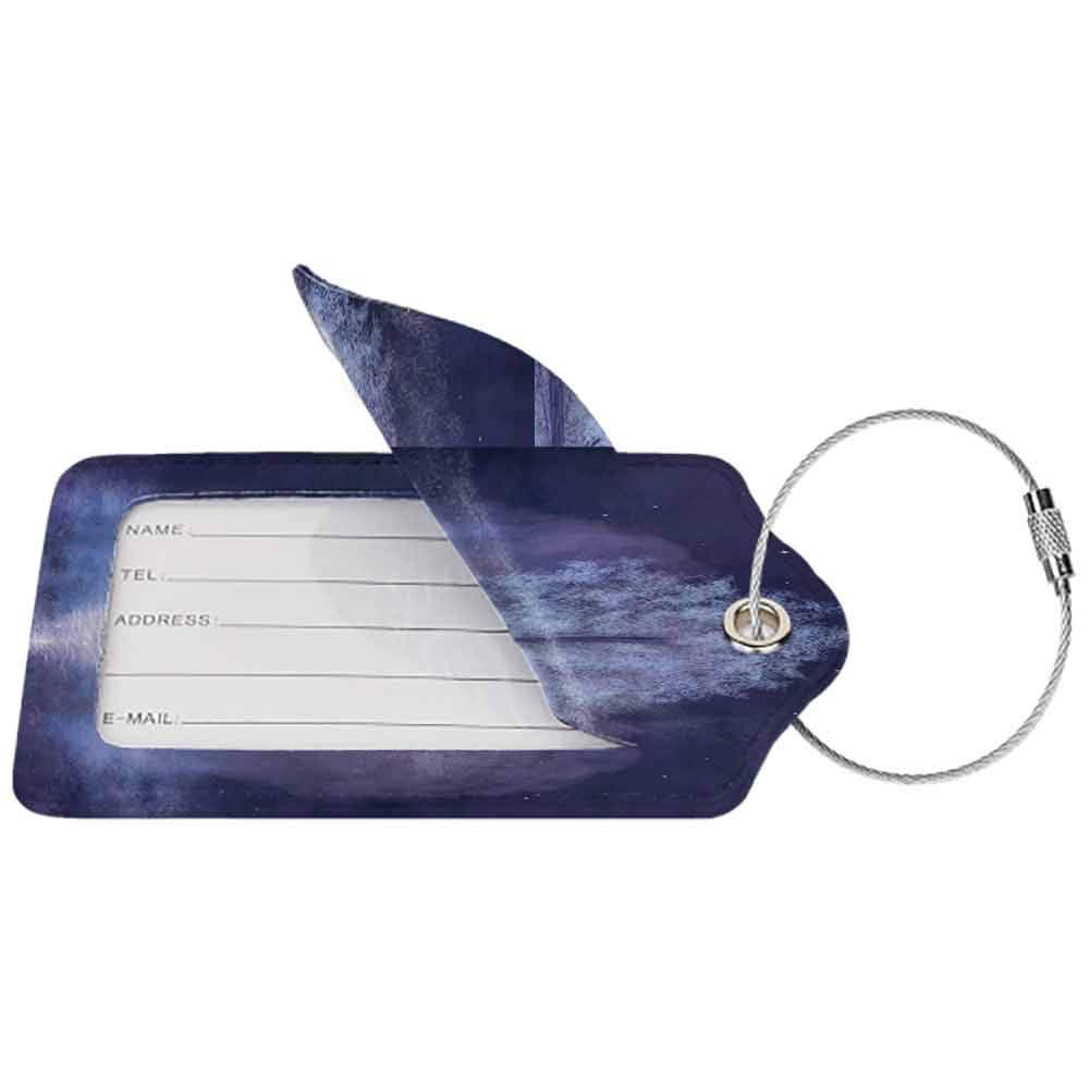 Multi-patterned luggage tag Fantasy House Decor Fabulous Herons and Tree in Living Water Fictional Mythical Illusory Dreamy Creature Double-sided printing Purple W2.7 x L4.6