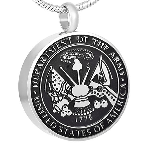 Department of Army United States of America Badge Memorial Urn Pendant Necklace Ash Jewelry Keepsake (Silver) (United States Badges Army)