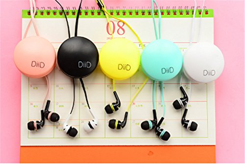 Interesting® Colorido encantador en la oreja de música estéreo auriculares con micrófono insertos para los teléfonos con la caja Negro