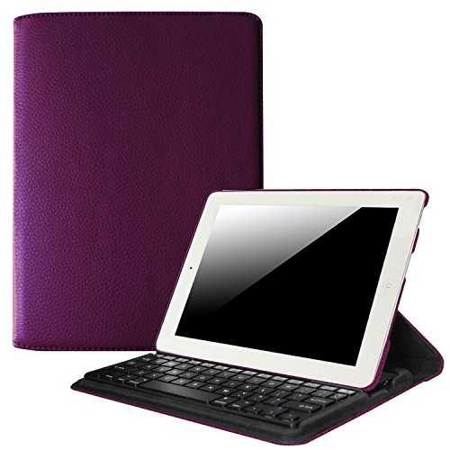 Fintie iPad 4/3/2 Keyboard Case - Multiple Angles Stand Cover with Built-in Wireless Bluetooth Keyboard for Apple iPad 4th Gen with Retina Display, iPad 3 & iPad 2, Purple (Best Case For Ipad 4 With Retina Display)