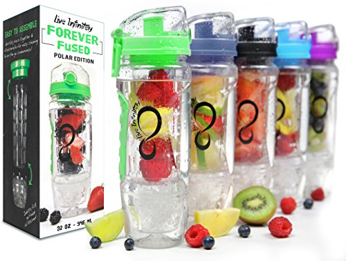 Live Infinitely 32 oz. Infuser Water Bottles - Featuring First Ever Gel Freezer Ball Infusion Rod, Flip Top Lid, Larger Dual Hand Grips & Recipe Ebook Gift (Green Polar Edition, 32 Ounce)