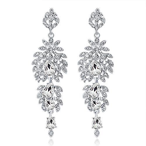 Vintage Diamond Mounted Silver Flower Teardrop Bridal Dangle Drop Earring Dream Date 21 ()