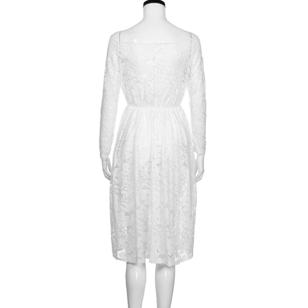 Lange Kleid Damen Sunday Hochzeit Freizeit T/äglich Frauen Vintage Schulterfrei Spitze Formale Abend Party Kleid Langarm Kleid Alle Jahreszeiten Elegant Solide Kleid
