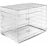 SRI Single Door Folding Metal Crate/ Cage for Dog and Cat with Removable Tray (Silver)