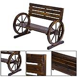 Rustic Wood Design Home Garden Wagon Wheel Bench