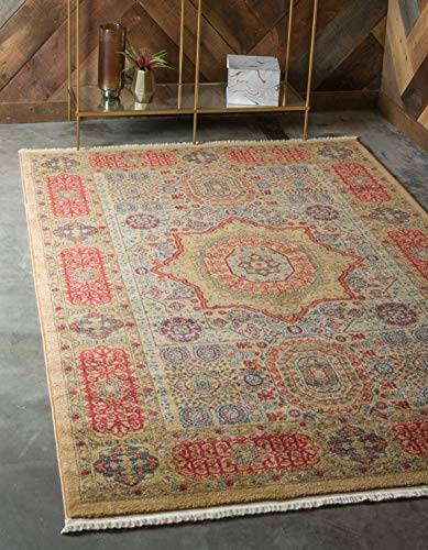 Unique Loom Palace Collection Traditoinal Geometric Classic Beige Area Rug 6 0 x 9 0