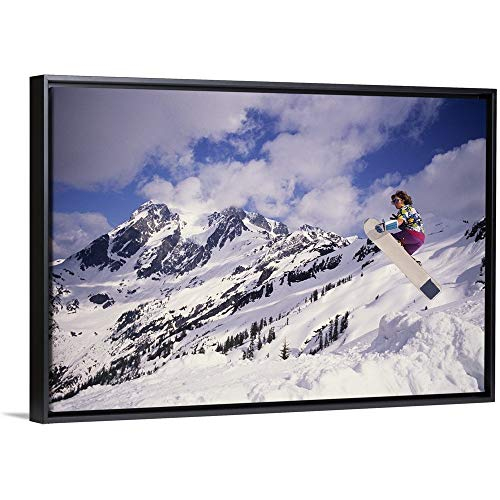 Floating Frame Premium Canvas with Black Frame Wall Art Print Entitled Snowboarder in air, Mount Baker, Washington, USA 48