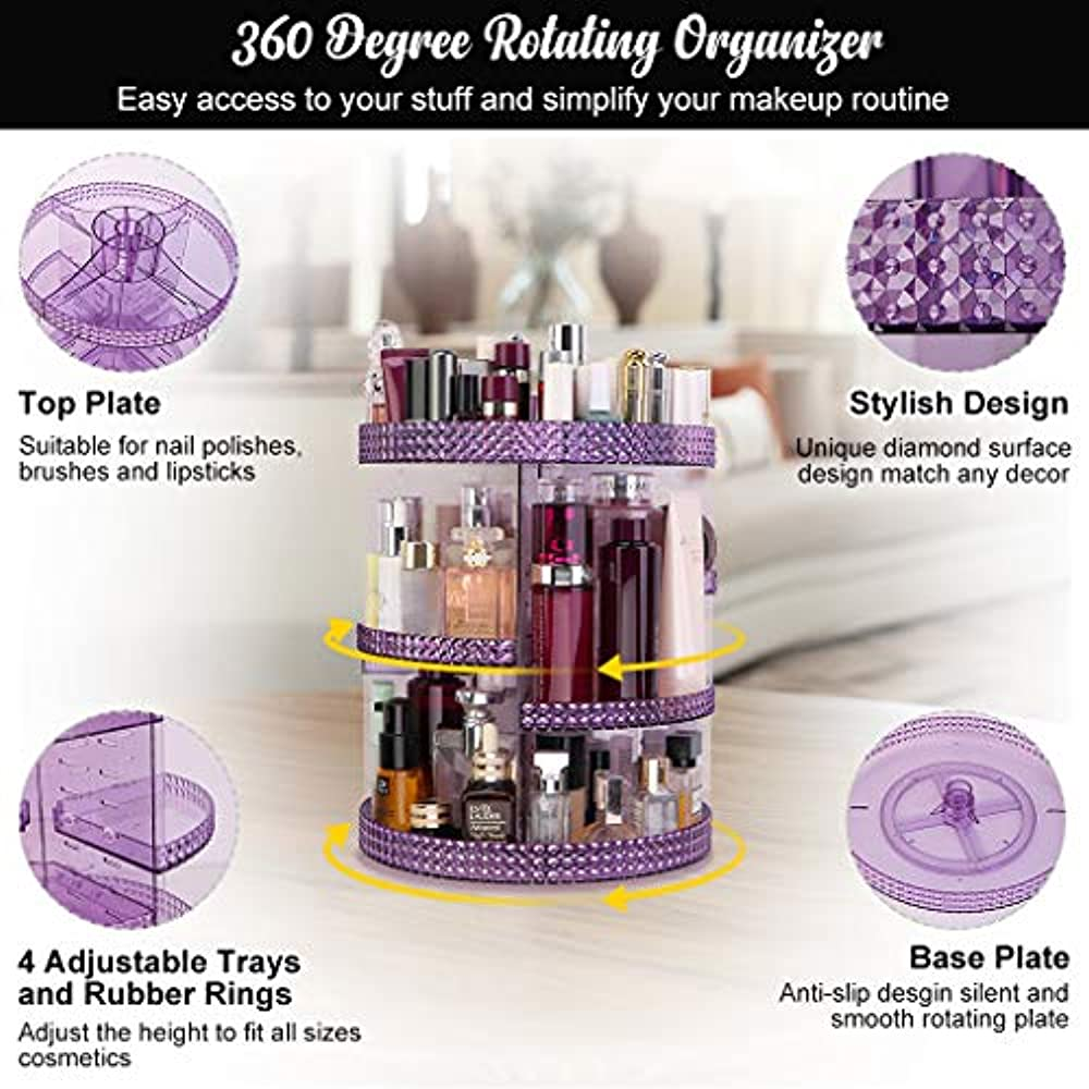 339dd86b3105 Details about Cosmetic Display Cases Famitree Rotating Makeup Organizer,  Acrylic Clear Perfume