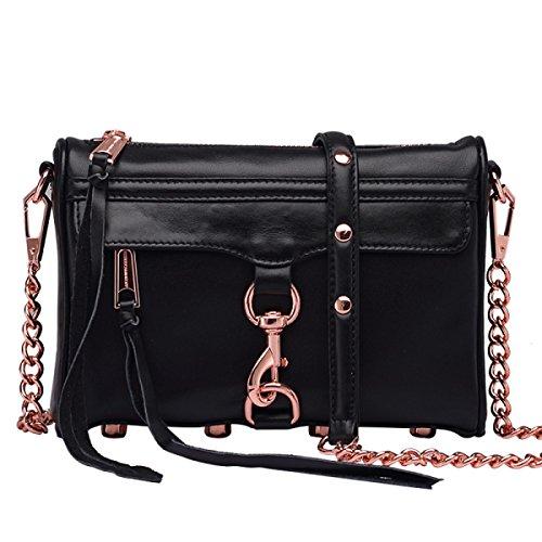 Leather Baguettes Handbags Bag Zipper black4 Genuine Totes Messenger Gshga Cowhide Fashion Shoulder Black3 qSFwnR5