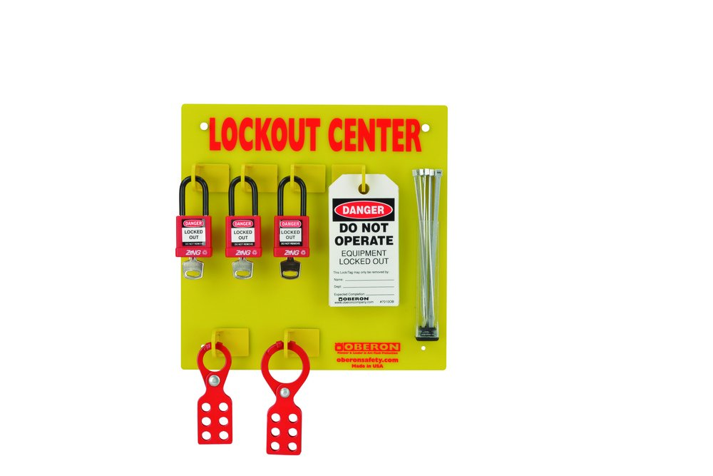 Oberon LOTO-CENTER-3L Wall Mounted Electrical Center, 3 Lock, Red/Yellow (20 Piece) (Pack of 20)