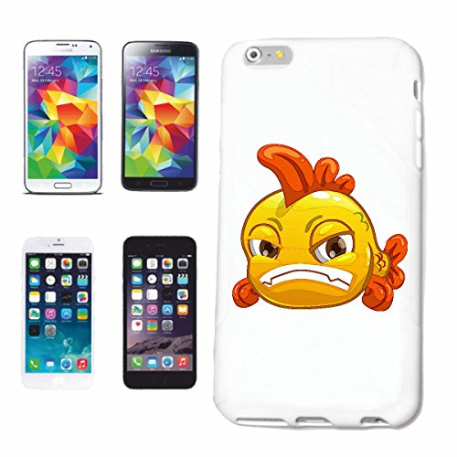 "cas de téléphone iPhone 5C ""MAD goldfisch SMILEY ""sourire EMOTICON sa SMILEYS SMILIES ANDROID IPHONE EMOTICONS IOS APP"" Hard Case Cover Téléphone Covers Smart Cover pour Apple iPhone en blanc"