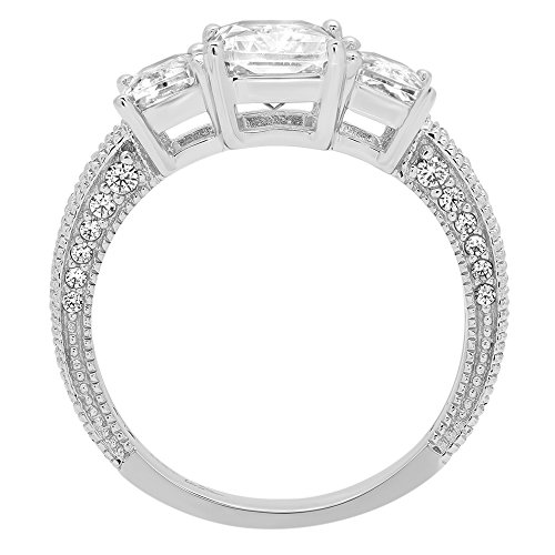 4.16ct Brilliant Emerald Cut Accented 3 Stone Promise Anniversary Statement Engagement Bridal Wedding Band Ring For Women Solid 14k White Gold, 5.25 by Clara Pucci (Image #1)