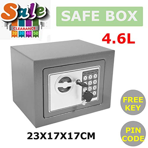 Electronic Digital Safe Box 4.6L Deposit Money Safety Box for Home Office 2 Safety Keys Lock & Password Size 23x17x17CM…