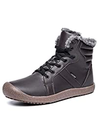 YIRUIYA Men's Leather Snow Boots with Fully Fur Lined Winter Warm Shoes