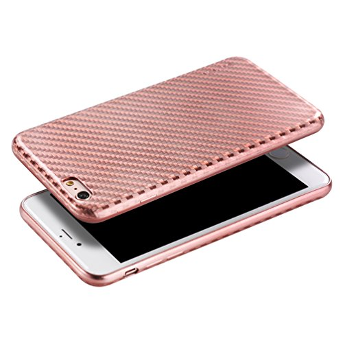 """Price comparison product image TYoung Ultra Thin Soft TPU Flexible Silicone Cover for Apple iPhone 6 / 6S 4.7"""",  Luxury Brushed Skin Plating Cover with 3D Lattice Grid Pattern - Champagne Gold"""
