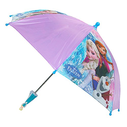 Price comparison product image Disney Kids' Frozen Elsa and Anna Stick Umbrella with Character Handle, Purple