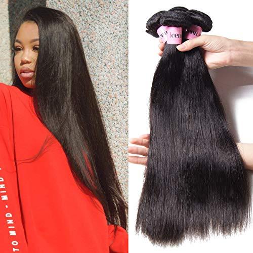 UNice Hair Icenu Series 8A Grade Peruvian Straight Hair 4 Bundles 100% Unprocessed Virgin Human Hair Weave Extensions Natural Color (18 20 22 24)