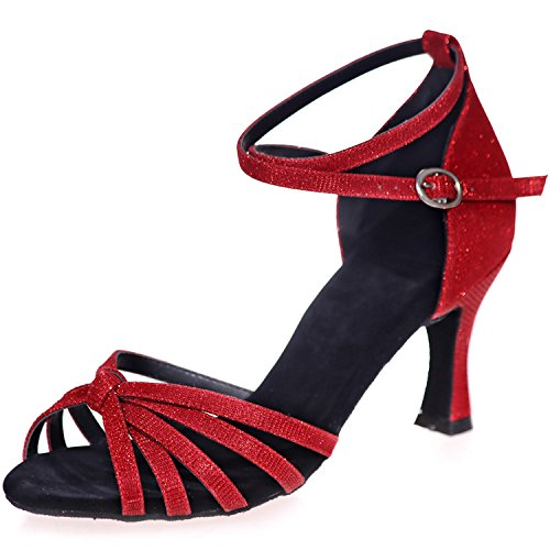 Clearbridal Women's Leather Latin Dance Shoes Buckle Ankle Strap Salsa Ballroom Sandals High Heel ZXF8349-08 Red XIPcptLV