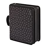 Oxford Zipper Binder with Tech Storage, 3', D-Rings, Handle and Shoulder Strap, Black and Gray Geometric Print (60450A)