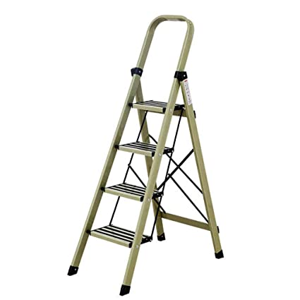 Closet Ladder With Hand Rails 4 Step Aluminum, Red Foldable Heavy Duty  Ladders, Load