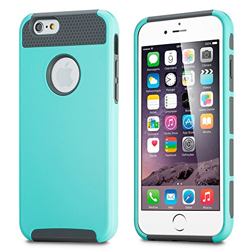 iPhone 6 Case, PlusinnoTM 2 in 1 Combo Hybrid Style Ultra Armor Defender Slim [Non-Slip] [Perfect-Fit] iPhone 6 (4.7) Case [Hard Plastic] [Silicone] Protective Case Rubber Bumper Slim [Heavy Duty] [Dual-Layer] Cover for Apple iPhone 6 Screen (4.7 inch Screen)(Mint Green-Gray)