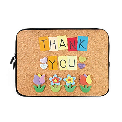 Thank You Decor Laptop Sleeve Bag,Neoprene Sleeve Case/Gratitude Themed Quote on Little Hanging Papers Post It with Flowers Print/for Apple MacBook Air Samsung Google Acer HP DELL Lenovo Asus