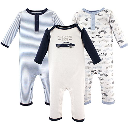 Hudson Baby Baby Cotton Union Suit, 3 Pack, Antique Cars, 9-12 Months