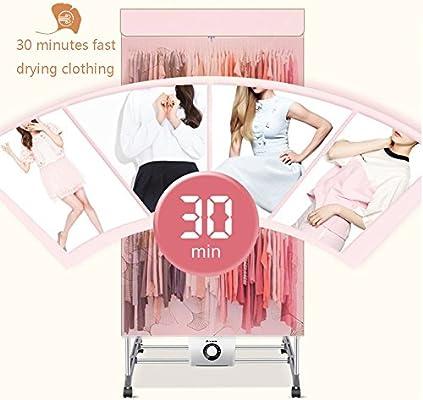Secadora secadora de doble capa de gran capacidad silenciosa secadora secadora de ropa de secado r/ápido hogar Color : Pink