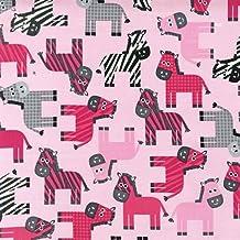 R Kaufman Ann Kelle Urban Zoologie Pink Zebra by the Half Yard
