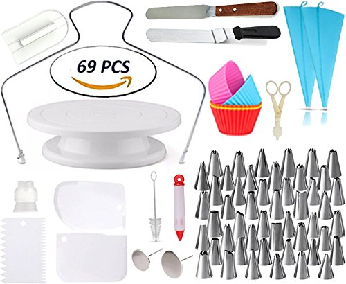 Cake Decorating Supplies - Rotating Turntable Stand | Professional Cupcake Decorating Kit | Baking Supplies |, Frosting & Piping Bags and Tips Set, Icing Spatula and Smoother, Pastry Tools | Cupcake (Set Icing Syringe)