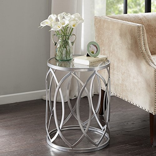 Madison Park Coen Metal Eyelet Accent Drum Table (Silver Drum Table)
