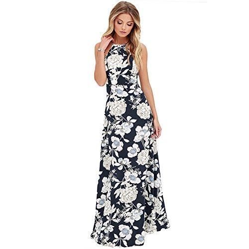 Romacci Womens Sleeveless Halter Neck Maxi Dress Vintage Floral Print Backless Beach Long Dresses S-5XL,Blue/Black