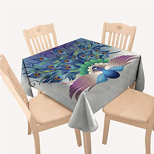 (WilliamsDecor Peacock Decor Collection Bedside Table Tablecloth Illustration of Ornate Peacock with Majestic Tail Feather Dangling Around Birds Wing ThemeMulti Small Square Tablecloth W36 xL36 inch)