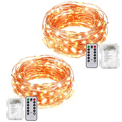 MZD8391 2 Pack 33ft 100 LEDs Battery Operated LED Copper Wire String Fairy Lights Party Christmas Wedding Light With Remote Control, 8 Flash Modes (Warm White) - 3XAA Battery Not (Level One 100 Floors Halloween)