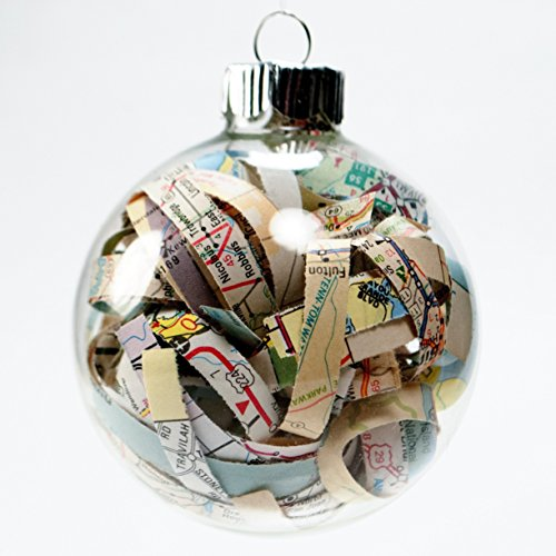 Vintage Travel Road Map Christmas Ornament - 2.62 Inch Glass Ornament with 1/4 Inch Strips